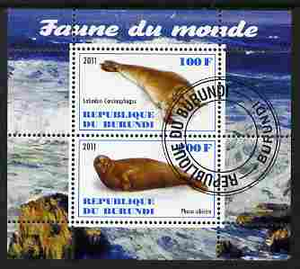 Burundi 2011 Fauna of the World - Mammals (Seals) perf sheetlet containing 2 values fine cto used