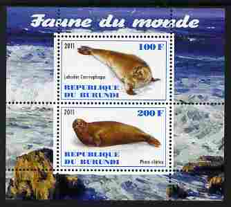 Burundi 2011 Fauna of the World - Mammals (Seals) perf sheetlet containing 2 values unmounted mint