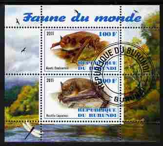 Burundi 2011 Fauna of the World - Mammals (Bats #1) perf sheetlet containing 2 values fine cto used