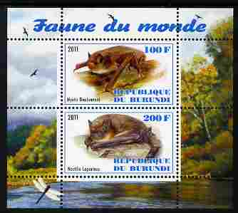 Burundi 2011 Fauna of the World - Mammals (Bats #1) perf sheetlet containing 2 values unmounted mint