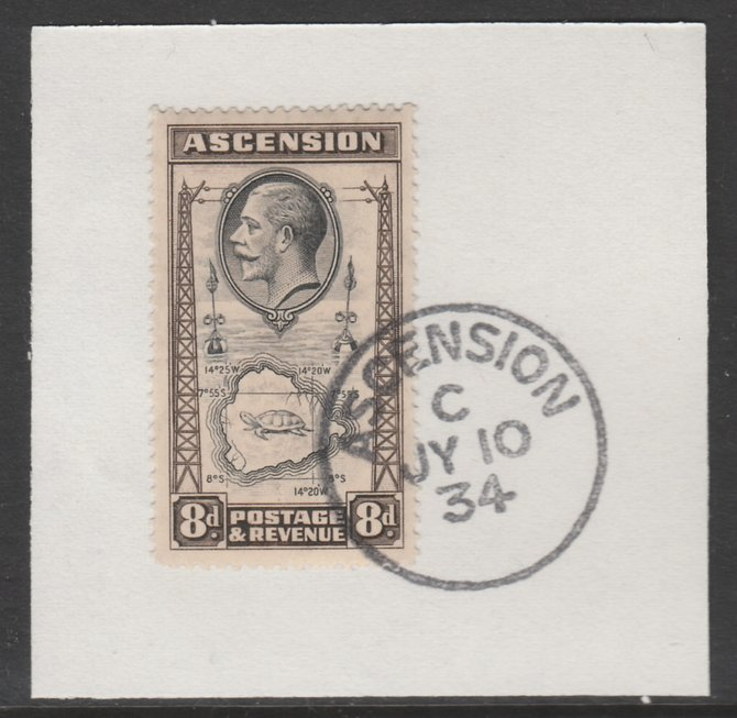 Ascension 1934 KG5 Pictorial 8d Map SG 27 on piece with full strike of Madame Joseph forged postmark type 21