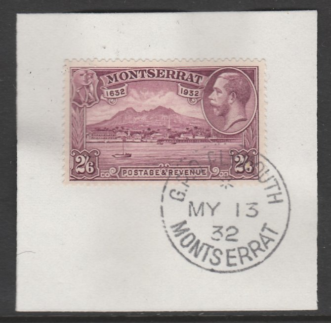 Montserrat 1932 KG5 Pictorial 2s6d purple (SG 92) on piece with full strike of Madame Joseph forged postmark type 258