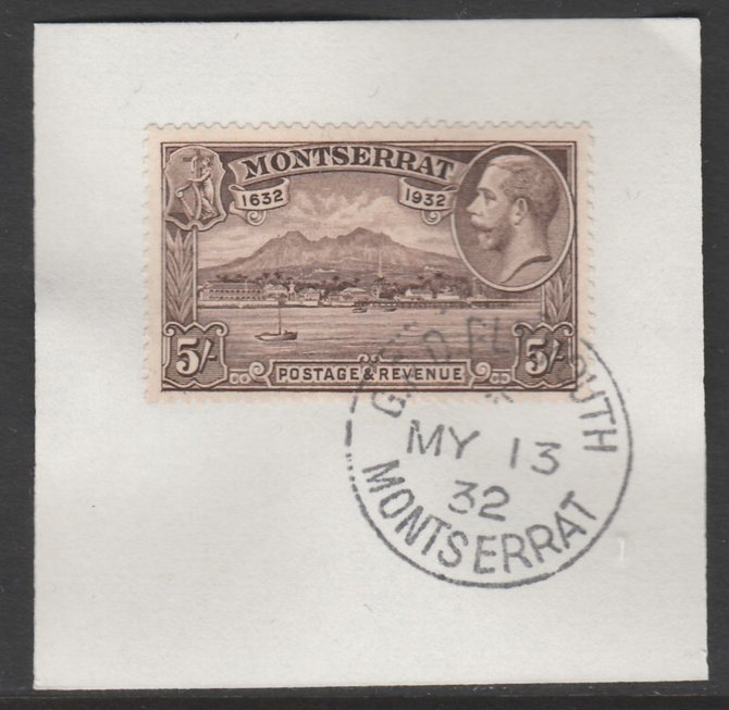 Montserrat 1932 KG5 Pictorial 5s chocolate (SG 93) on piece with full strike of Madame Joseph forged postmark type 258