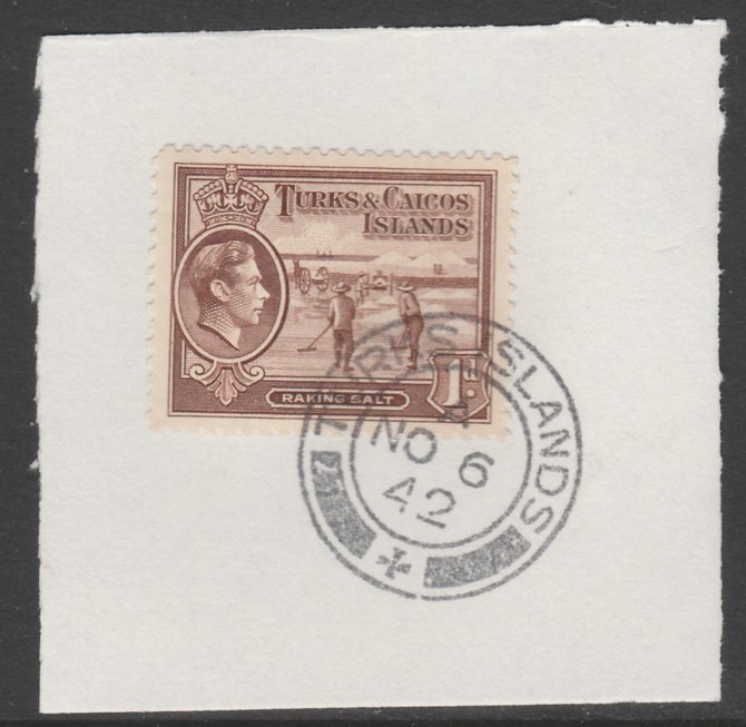 Turks & Caicos Islands 1938 KG6 Raking Salt 1d red-brown  SG 196 on piece with full strike of Madame Joseph forged postmark type 427