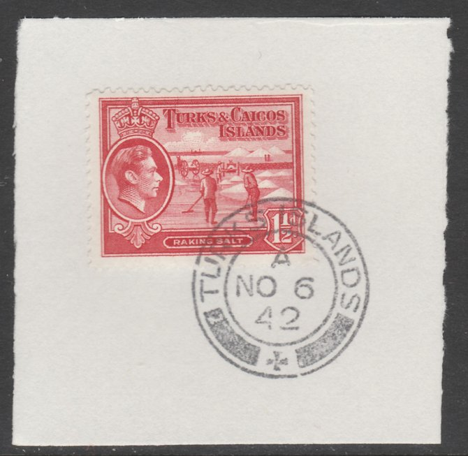 Turks & Caicos Islands 1938 KG6 Raking Salt 1.5d scarlet  SG 197 on piece with full strike of Madame Joseph forged postmark type 427
