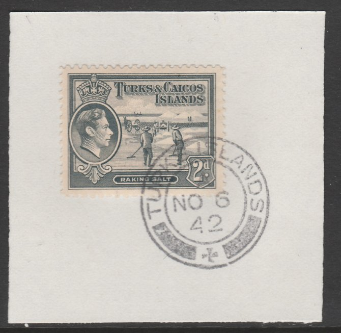 Turks & Caicos Islands 1938 KG6 Raking Salt 2d grey  SG 198 on piece with full strike of Madame Joseph forged postmark type 427