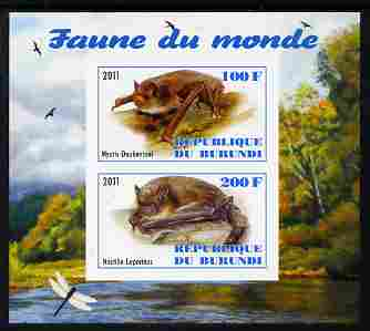 Burundi 2011 Fauna of the World - Mammals (Bats #1) imperf sheetlet containing 2 values unmounted mint
