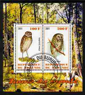 Burundi 2011 Fauna of the World - Owls perf sheetlet containing 2 values fine cto used