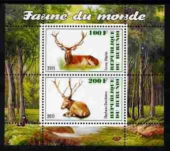 Burundi 2011 Fauna of the World - Mammals (Deer) perf sheetlet containing 2 values unmounted mint