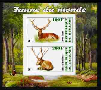 Burundi 2011 Fauna of the World - Mammals (Deer) imperf sheetlet containing 2 values unmounted mint