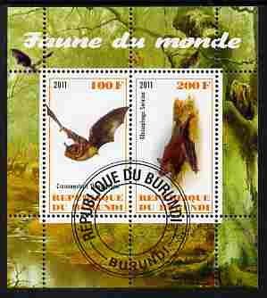 Burundi 2011 Fauna of the World - Mammals (Bats #2) perf sheetlet containing 2 values fine cto used