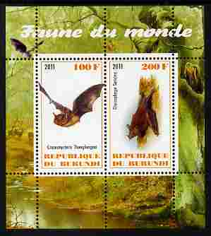 Burundi 2011 Fauna of the World - Mammals (Bats #2) perf sheetlet containing 2 values unmounted mint