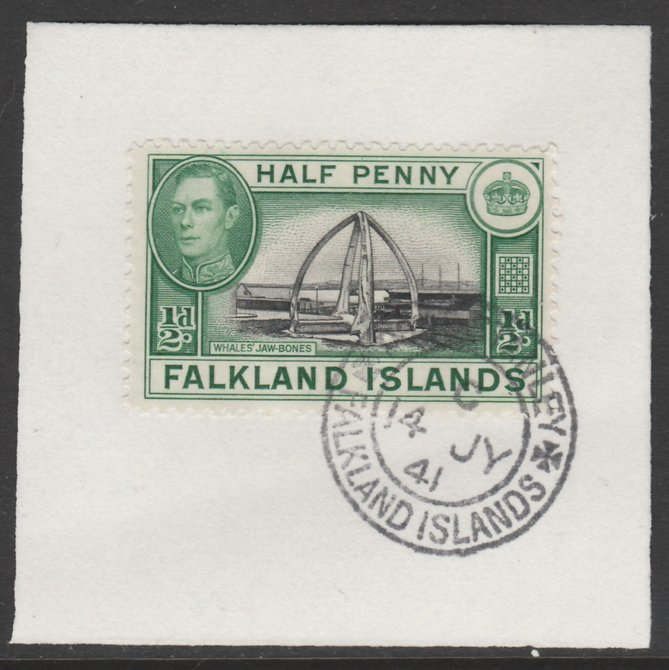 Falkland Islands 1938-50 KG6 Whales' Jawbones 1/2d SG 146 on piece with full strike of Madame Joseph forged postmark type 156