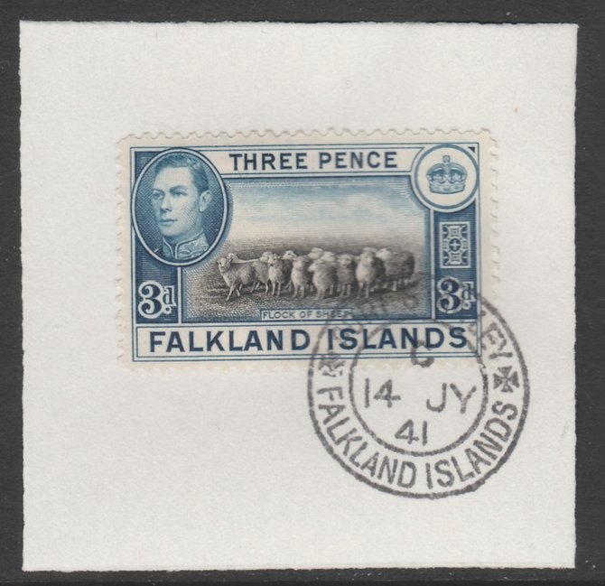 Falkland Islands 1938-50 KG6 Flock of Sheep 3d SG153on piece with full strike of Madame Joseph forged postmark type 156
