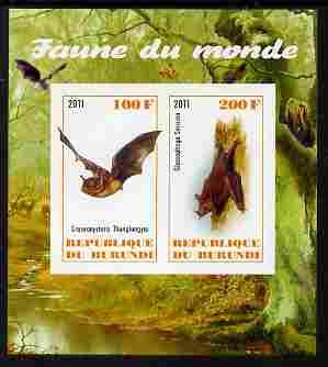 Burundi 2011 Fauna of the World - Mammals (Bats #2) imperf sheetlet containing 2 values unmounted mint