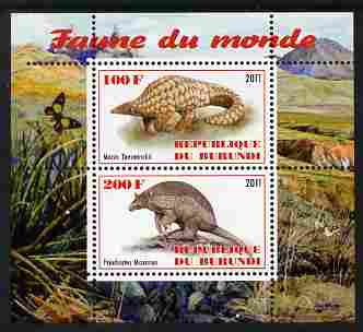 Burundi 2011 Fauna of the World - Mammals (Armidillos) perf sheetlet containing 2 values unmounted mint