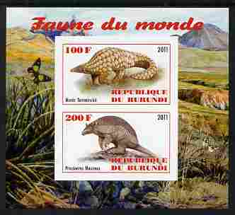 Burundi 2011 Fauna of the World - Mammals (Armidillos) imperf sheetlet containing 2 values unmounted mint