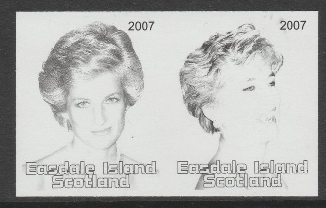 Easdale 2007 Princess Diana \A31.50 #4 imperf se-tenant proof pair in black & grey only, unmounted mint