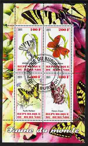 Burundi 2011 Fauna of the World - Butterflies #1 perf sheetlet containing 4 values fine cto used