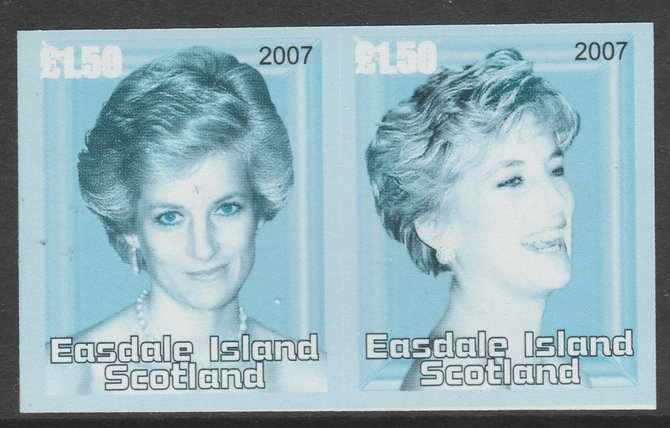 Easdale 2007 Princess Diana \A31.50 #4 imperf se-tenant proof pair in blue, black & grey only, unmounted mint