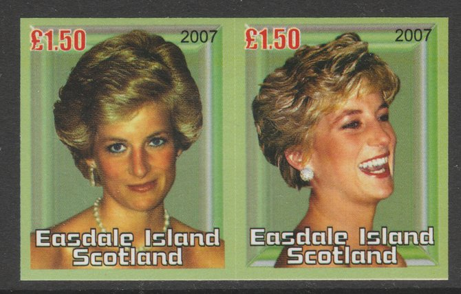 Easdale 2007 Princess Diana \A31.50 #2 imperf se-tenant proof pair in all five colours but with an overall yellowish wash unmounted mint