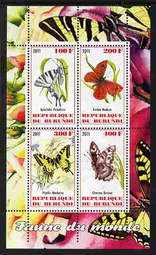 Burundi 2011 Fauna of the World - Butterflies #1 perf sheetlet containing 4 values unmounted mint