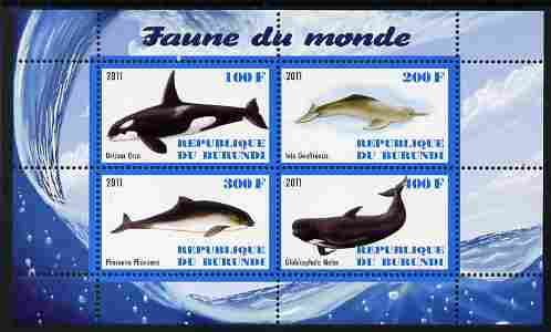 Burundi 2011 Fauna of the World - Whales & Doplphins perf sheetlet containing 4 values unmounted mint