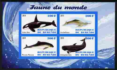 Burundi 2011 Fauna of the World - Whales & Doplphins imperf sheetlet containing 4 values unmounted mint