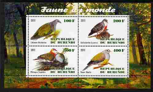 Burundi 2011 Fauna of the World - Pigeons & Doves perf sheetlet containing 4 values unmounted mint