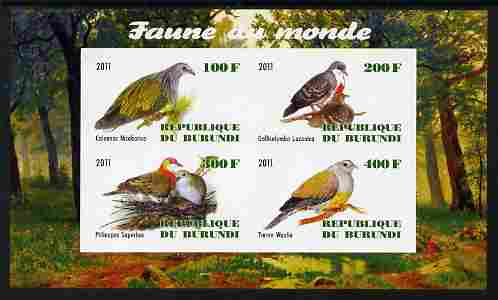 Burundi 2011 Fauna of the World - Pigeons & Doves imperf sheetlet containing 4 values unmounted mint