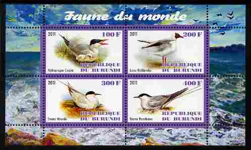 Burundi 2011 Fauna of the World - Gulls & Terns perf sheetlet containing 4 values unmounted mint