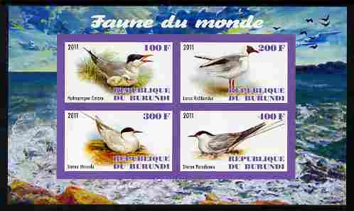 Burundi 2011 Fauna of the World - Gulls & Terns imperf sheetlet containing 4 values unmounted mint