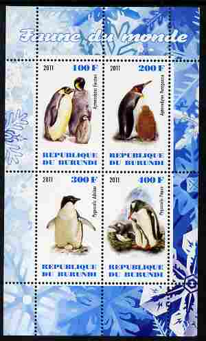 Burundi 2011 Fauna of the World - Penguins perf sheetlet containing 4 values unmounted mint