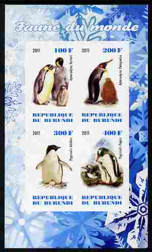 Burundi 2011 Fauna of the World - Penguins imperf sheetlet containing 4 values unmounted mint