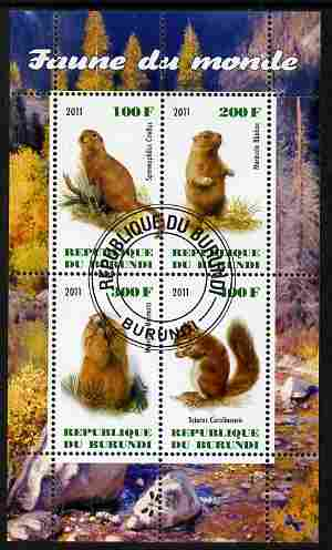 Burundi 2011 Fauna of the World - Mammals (Squirrels & Marmots) perf sheetlet containing 4 values fine cto used