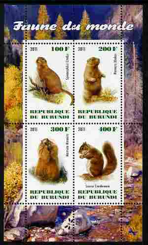 Burundi 2011 Fauna of the World - Mammals (Squirrels & Marmots) perf sheetlet containing 4 values unmounted mint