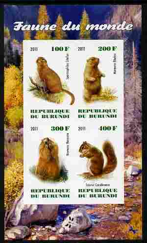 Burundi 2011 Fauna of the World - Mammals (Squirrels & Marmots) imperf sheetlet containing 4 values unmounted mint
