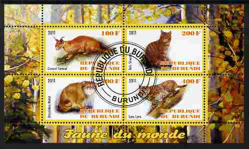 Burundi 2011 Fauna of the World - Wild Cats #2 perf sheetlet containing 4 values fine cto used