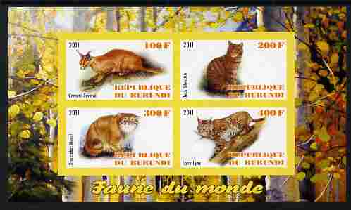 Burundi 2011 Fauna of the World - Wild Cats #2 imperf sheetlet containing 4 values unmounted mint