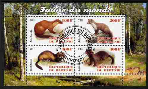 Burundi 2011 Fauna of the World - Mammals (Martens & Polecats) perf sheetlet containing 4 values fine cto used