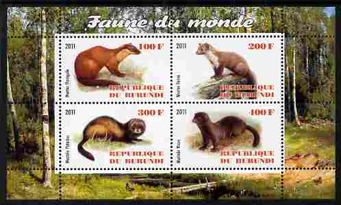 Burundi 2011 Fauna of the World - Mammals (Martens & Polecats) perf sheetlet containing 4 values unmounted mint