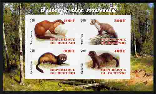 Burundi 2011 Fauna of the World - Mammals (Martens & Polecats) imperf sheetlet containing 4 values unmounted mint