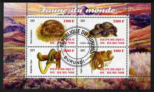 Burundi 2011 Fauna of the World - Reptiles - Snakes #1 perf sheetlet containing 4 values fine cto used