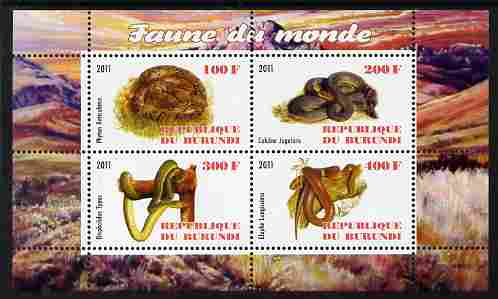 Burundi 2011 Fauna of the World - Reptiles - Snakes #1 perf sheetlet containing 4 values unmounted mint