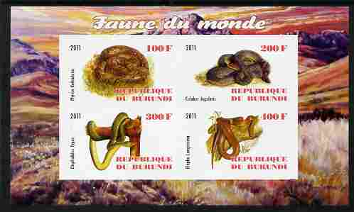 Burundi 2011 Fauna of the World - Reptiles - Snakes #1 imperf sheetlet containing 4 values unmounted mint