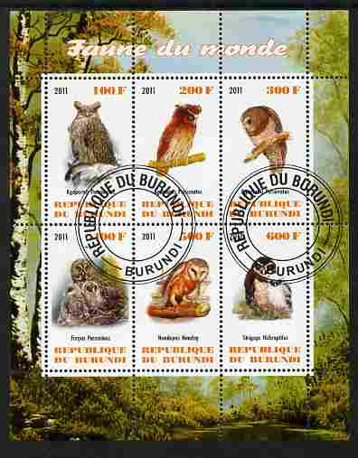 Burundi 2011 Fauna of the World - Owls perf sheetlet containing 6 values fine cto used