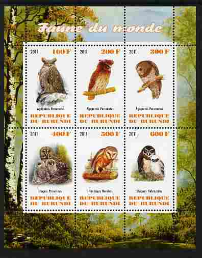 Burundi 2011 Fauna of the World - Owls perf sheetlet containing 6 values unmounted mint