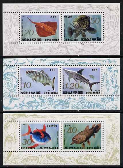 North Korea 1993 Fish set of 3 sheetlets each containing 2 values