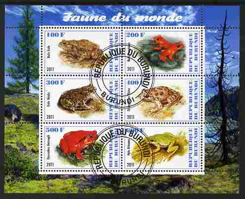 Burundi 2011 Fauna of the World - Amphibians (Frogs & Toads) perf sheetlet containing 6 values fine cto used