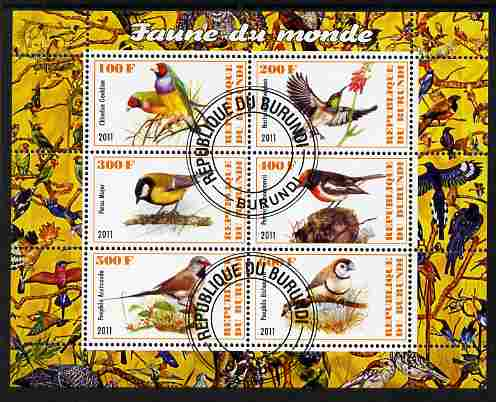 Burundi 2011 Fauna of the World - Birds perf sheetlet containing 6 values fine cto used